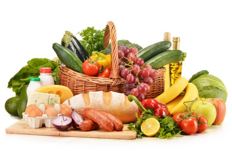 fruits, vegetables, bread, eggs, milk, cheese