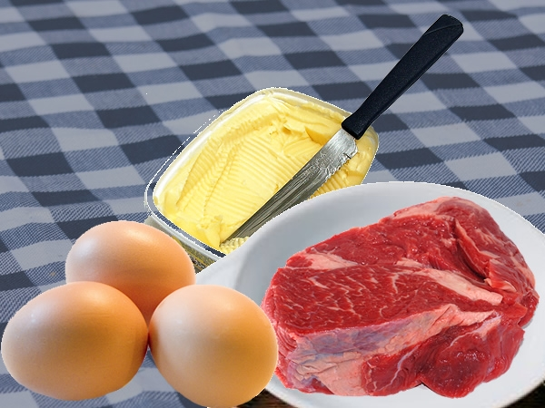 butter, eggs, meat