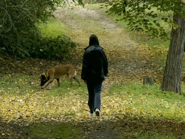 woman walking in woods with dog